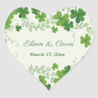 Irish shamrock Wedding Thank You Heart Sticker