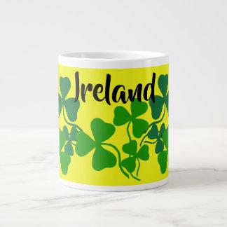 Irish shamrock, yellow, clover, Ireland coffee Large Coffee Mug