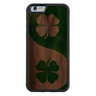 Irish Shamrock Yin Yang Carved Walnut iPhone 6 Bumper Case