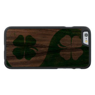 Irish Shamrock Yin Yang Carved® Walnut iPhone 6 Slim Case