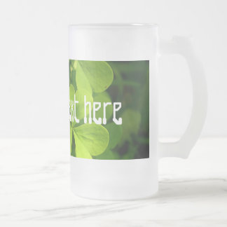 Irish Shamrocks Frosted Glass Beer Mug