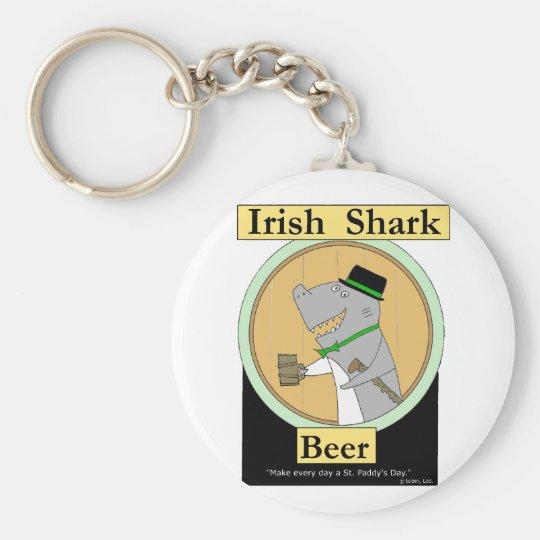 Irish Shark Beer Basic Round Button Key Ring