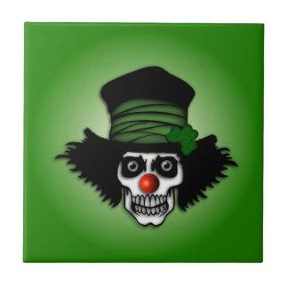 Irish Skeleton Clown on Green Small Square Tile