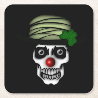 Irish Skeleton Clown Square Paper Coaster