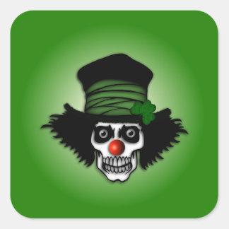 Irish Skeleton Clown Square Sticker