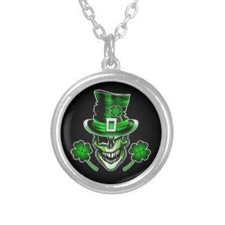 Irish Skull 3: Laughing Leprechaun Round Pendant Necklace