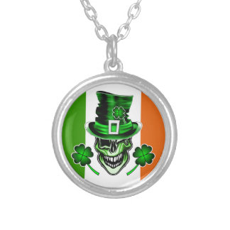 Irish Skull 3: Laughing Leprechaun Silver Plated Necklace