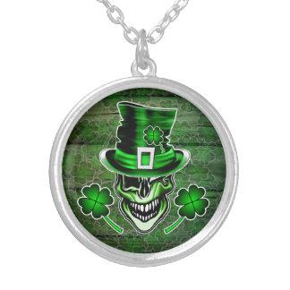 Irish Skull 3: Winking Leprechaun Round Pendant Necklace