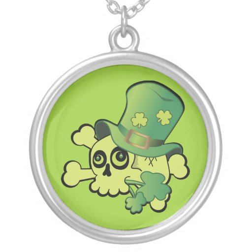 Irish Skull and Shamrocks Personalized Necklace