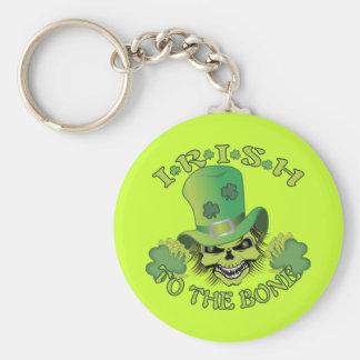 Irish Skull Basic Round Button Key Ring