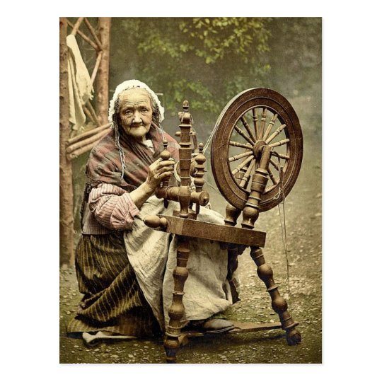 Irish Spinner and Spinning Wheel. Co. Galway, Irel