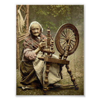 Irish Spinner and Spinning Wheel. Co. Galway, Irel Poster