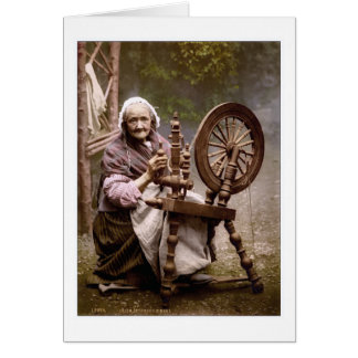 Irish Spinner and Spinning Wheel Greeting Card