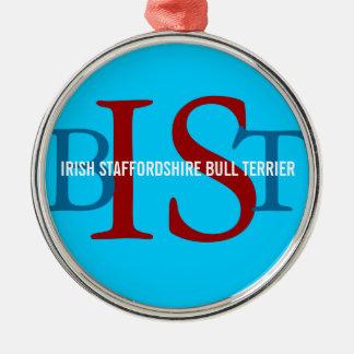 Irish Staffordshire Bull Terrier Monogram Round Metal Christmas Ornament