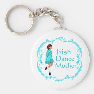 Irish Step Dance Mother - Turquoise Basic Round Button Key Ring