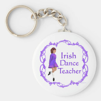 Irish Step Dance Teacher - Purple Basic Round Button Key Ring