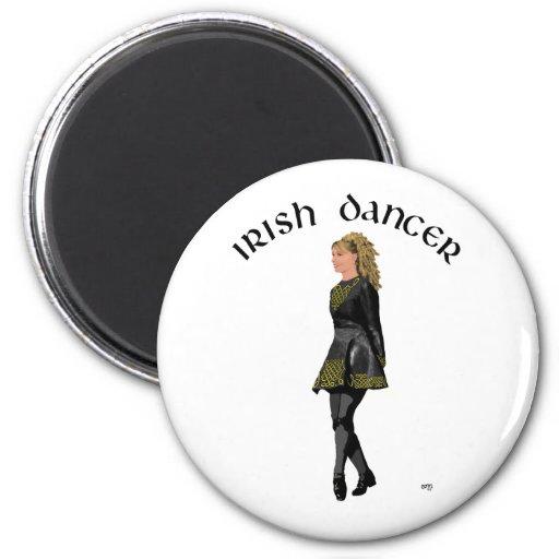 Irish Step Dancer - Ash Blonde Hair - Black Dress Fridge Magnets