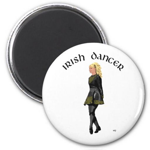 Irish Step Dancer - Black Dress, Blonde Hair Refrigerator Magnet