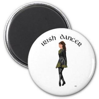 Irish Step Dancer - Black Dress, Brunette Hair 6 Cm Round Magnet