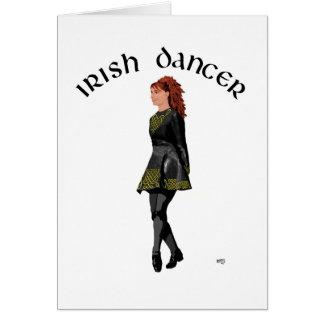 Irish Step Dancer - Black Dress, Red Hair Greeting Card