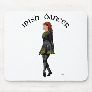 Irish Step Dancer - Black Dress, Red Hair Mouse Mat