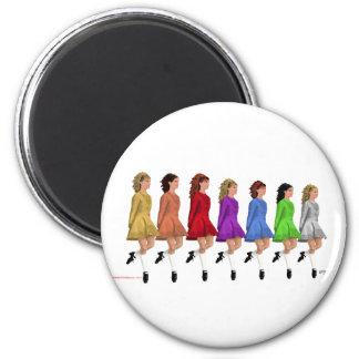Irish Step Dancers - Rainbow Line of Dancers 6 Cm Round Magnet