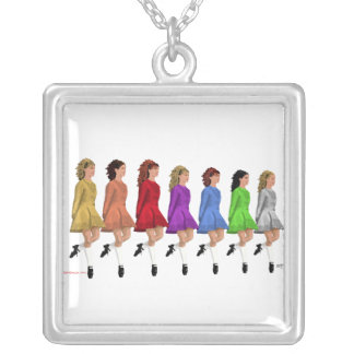 Irish Step Dancers - Rainbow Line of Dancers Silver Plated Necklace