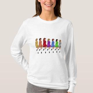 Irish Step Dancers - Rainbow Line of Dancers T-Shirt