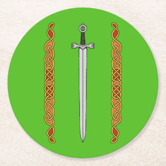 Irish Sword and Knotwork Paper Coasters Round Paper Coaster