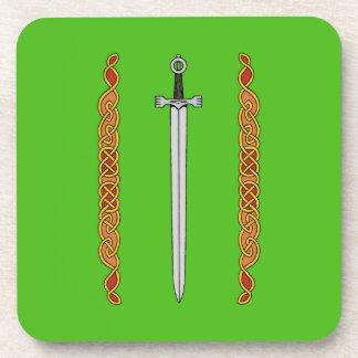 Irish Sword and Knotwork Plastic Coasters