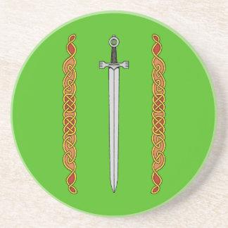 Irish Sword and Knotwork Sandstone Coaster