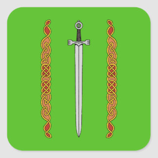 Irish Sword and Knotwork Square Sticker