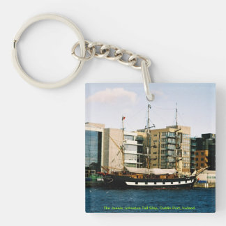 Irish Tall Ship Jeanie Johnston Double-Sided Square Acrylic Key Ring