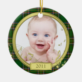 Irish Tartan Baby's First Christmas Photo Ornament