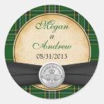 Irish Tartan Celtic Claddagh Lucky in Love Wedding Round Stickers