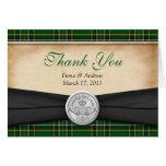 Irish Tartan Celtic Claddagh Wedding Thank You Note Card