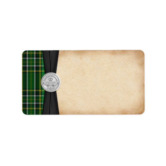 Irish Tartan Claddagh Wedding Blank Address Label