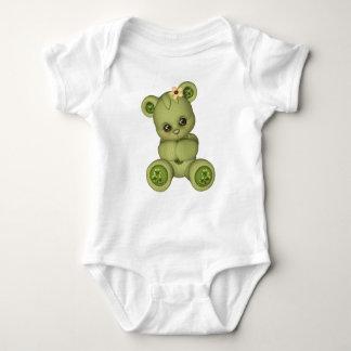 Irish Teddy Bear four leaf clover yellow green Baby Bodysuit