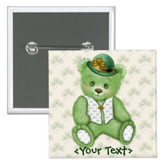 Irish Teddybear - Green 15 Cm Square Badge
