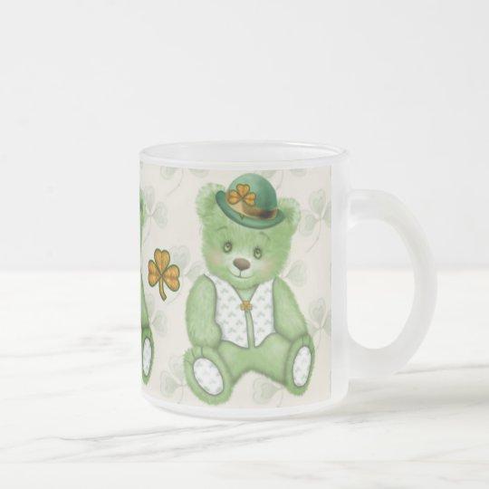 Irish Teddybear - Green Frosted Glass Coffee Mug