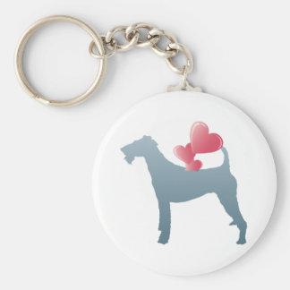 Irish Terrier Basic Round Button Key Ring