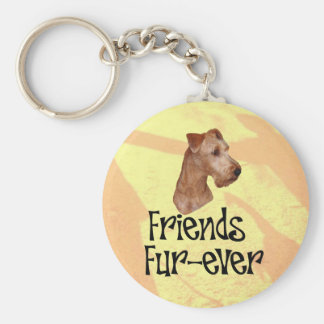 "Irish Terrier ""Friends fur more ever "" Basic Round Button Key Ring"