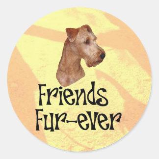 """Irish Terrier """"friends fur more ever """" Round Sticker"""