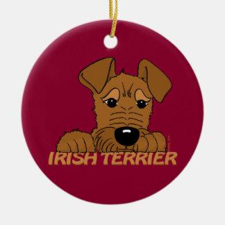 Irish Terrier head Cute Round Ceramic Decoration