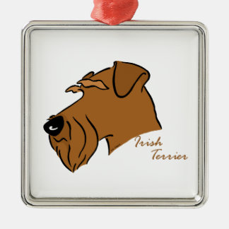 Irish Terrier head silhouette Christmas Ornament