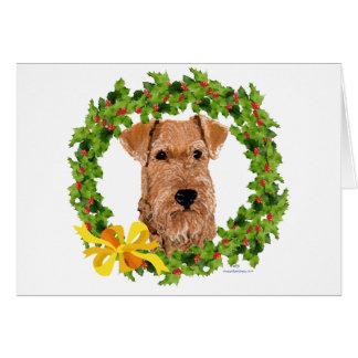 Irish Terrier Holly Wreath Card