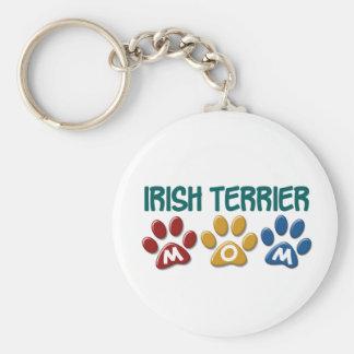 IRISH TERRIER Mom Paw Print 1 Basic Round Button Key Ring