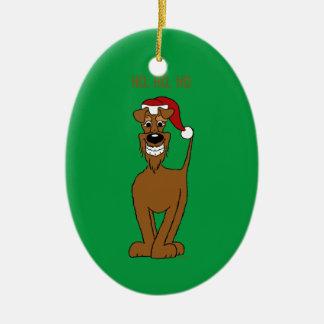 Irish Terrier Santa Ceramic Oval Decoration