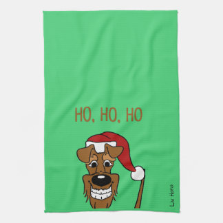 Irish Terrier Santa Tea Towel