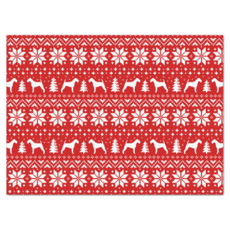 Irish Terrier Silhouettes Christmas Pattern Red Tissue Paper
